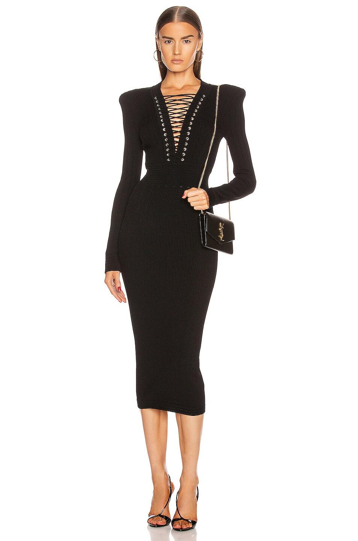 Image 1 of BALMAIN Lace Up V Neck Midi Dress in Black