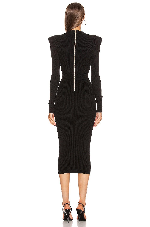 Image 3 of BALMAIN Lace Up V Neck Midi Dress in Black