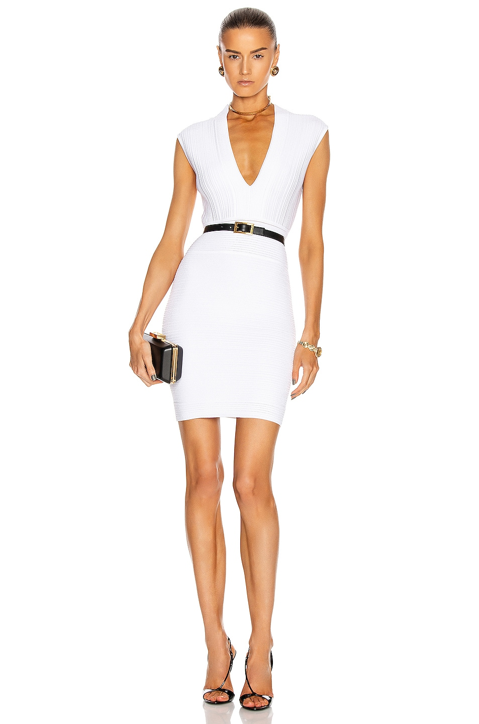 Image 1 of BALMAIN Sleeveless V-Neck Pleated Knit Dress in White