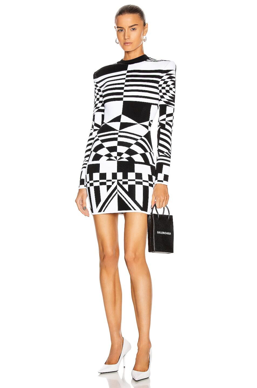 Image 1 of BALMAIN Long Sleeve Jacquard Dress in Black & White
