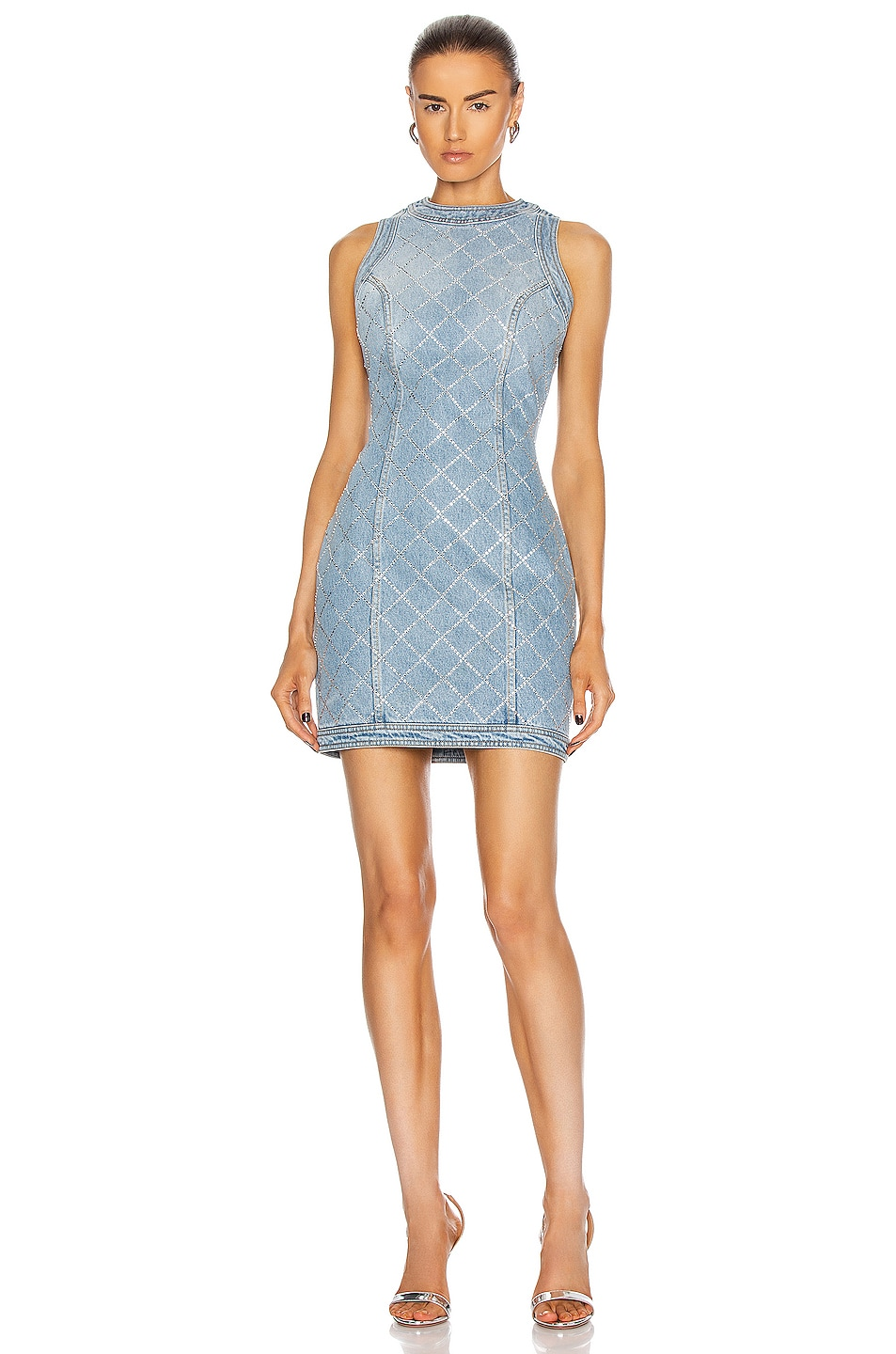 Image 1 of BALMAIN Short Sleeveless Strass Grid Denim Dress in Bleu Jean & Cristal