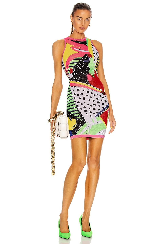 Image 1 of BALMAIN Sleeveless 80's Jacquard Mini Dress in Rose & Multi