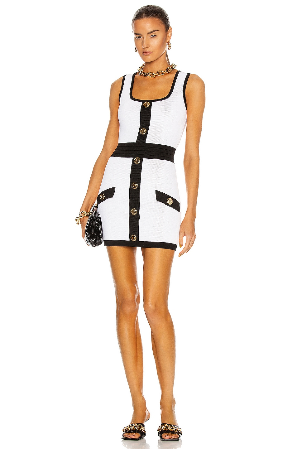 Image 1 of BALMAIN Two-Tone Knit Mini Dress in Blanc & Noir