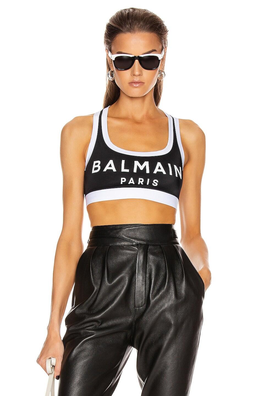 Image 1 of BALMAIN Print Sport Bra in Black