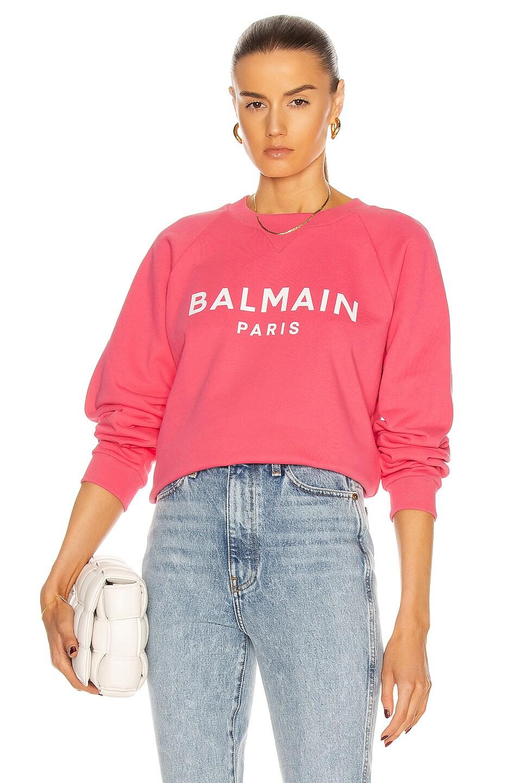 Image 1 of BALMAIN Printed Logo Sweatshirt in Rose & Blanc