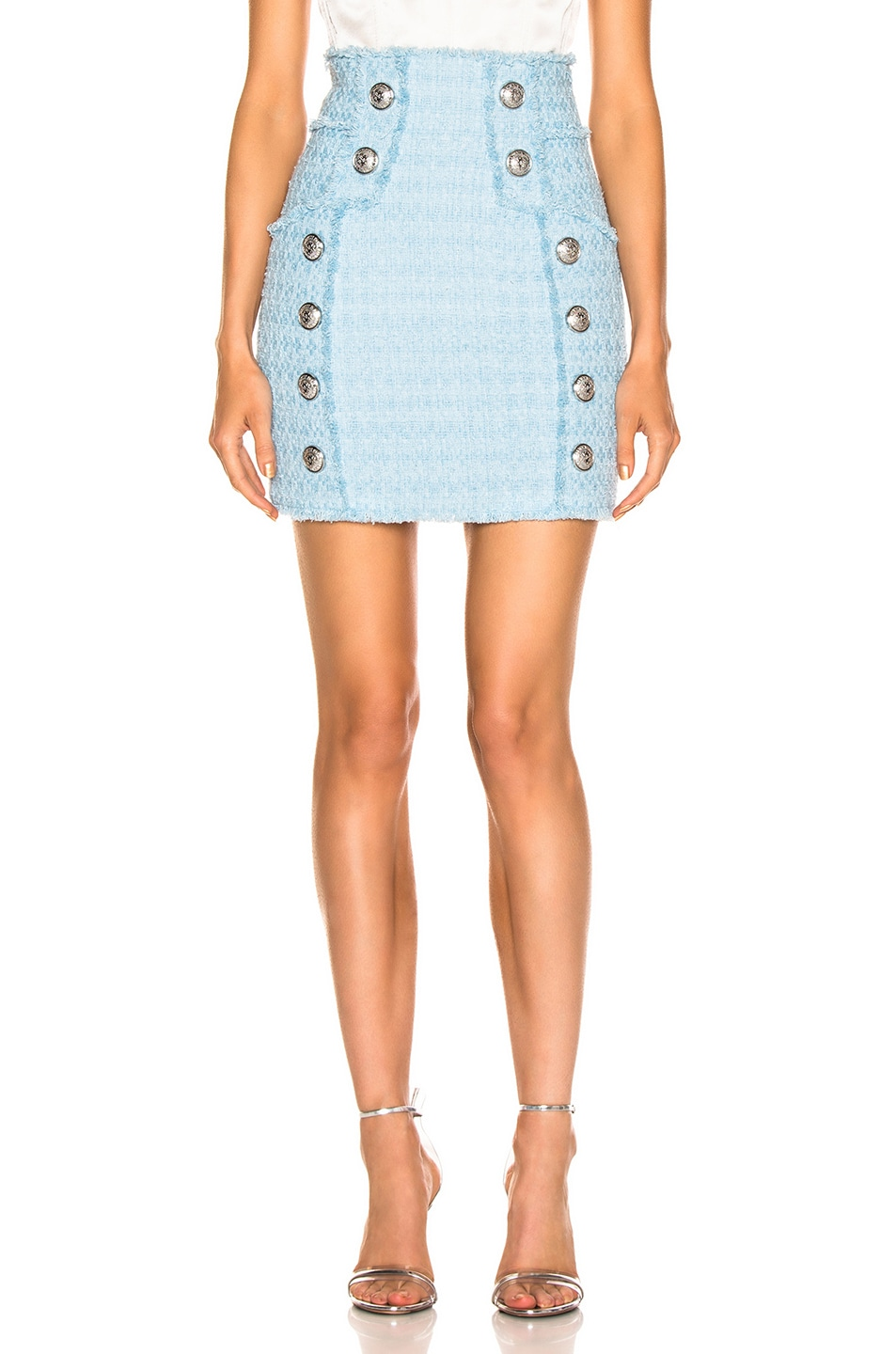 Image 1 of BALMAIN High Waisted Skirt in Blue