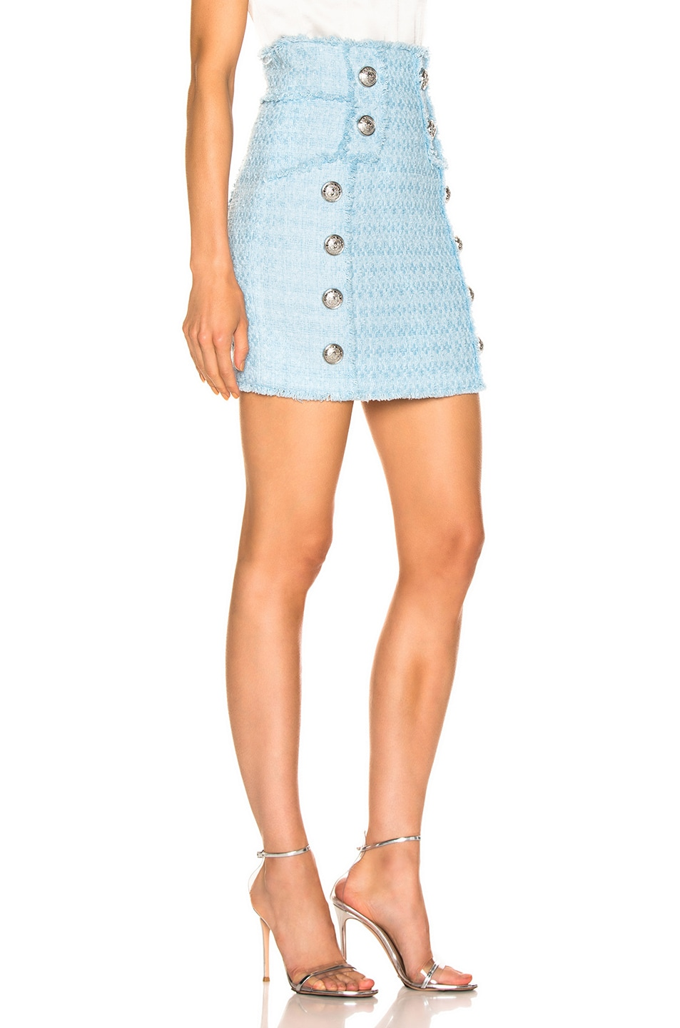 Image 2 of BALMAIN High Waisted Skirt in Blue