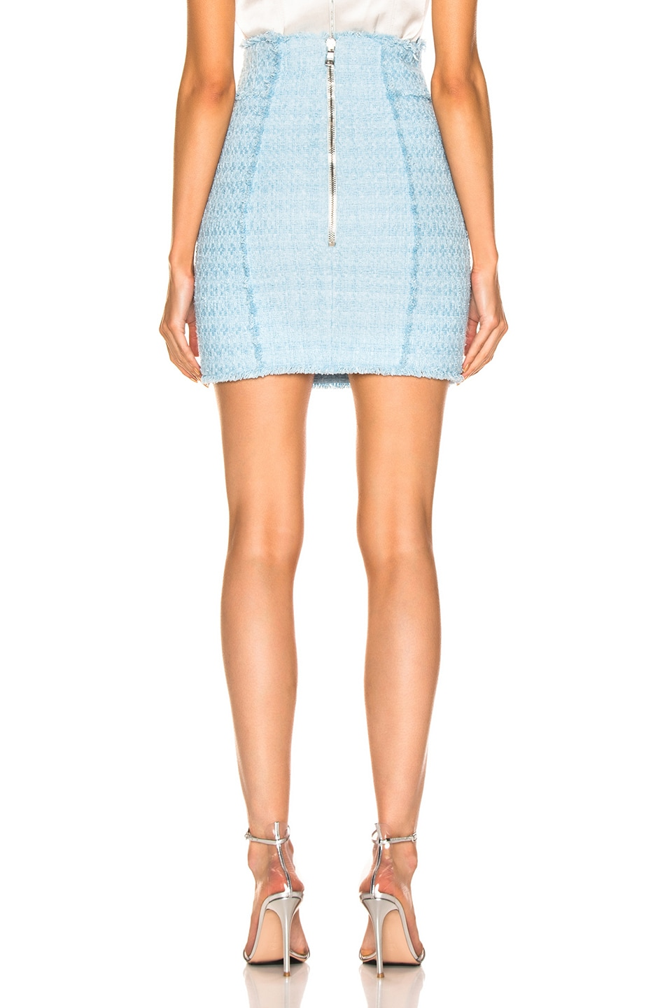 Image 3 of BALMAIN High Waisted Skirt in Blue
