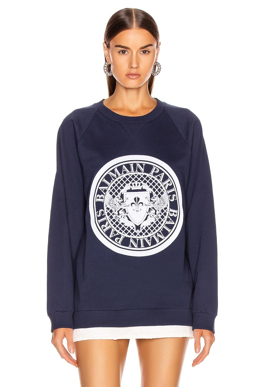 Image 2 of BALMAIN Flocked Coin Sweatshirt in Marine & White