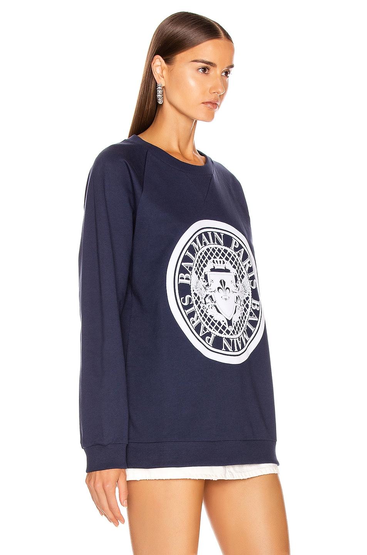 Image 3 of BALMAIN Flocked Coin Sweatshirt in Marine & White