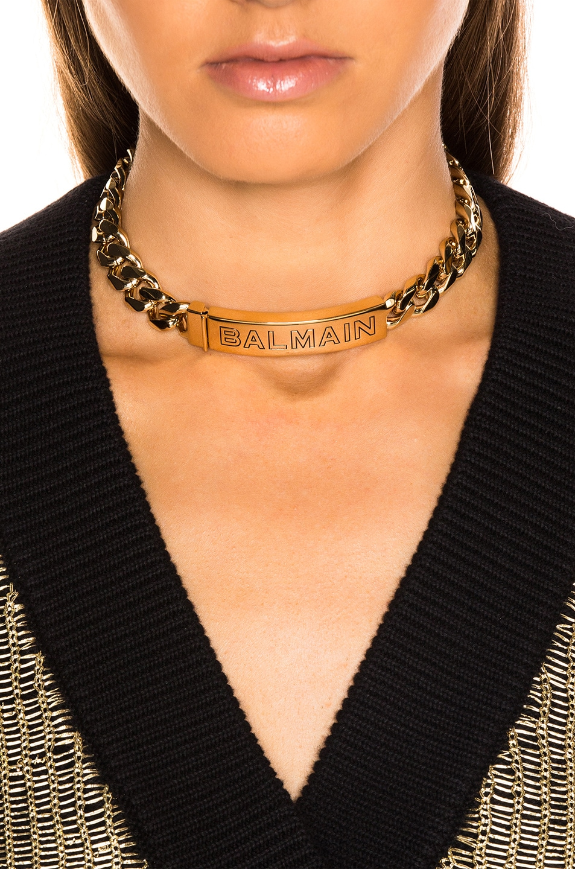 Image 4 of BALMAIN Logo Chain Choker in Gold