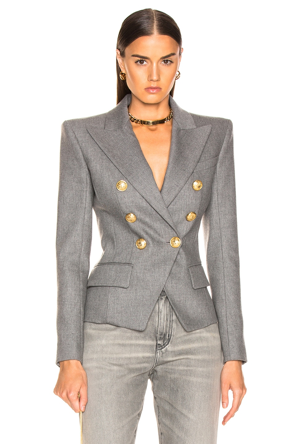 Image 1 of BALMAIN Flannel Double Breasted Blazer in Grey