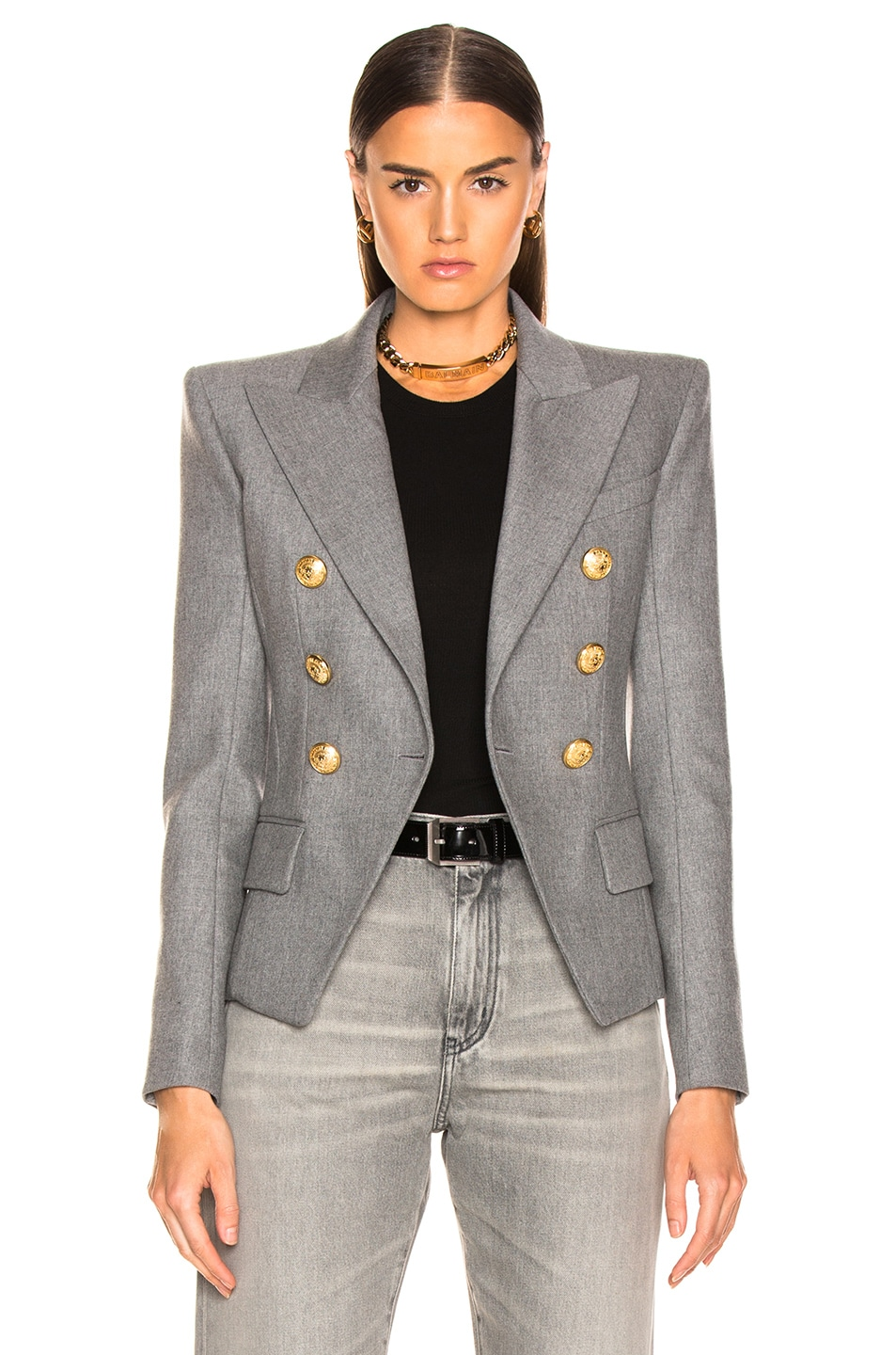 Image 2 of BALMAIN Flannel Double Breasted Blazer in Grey