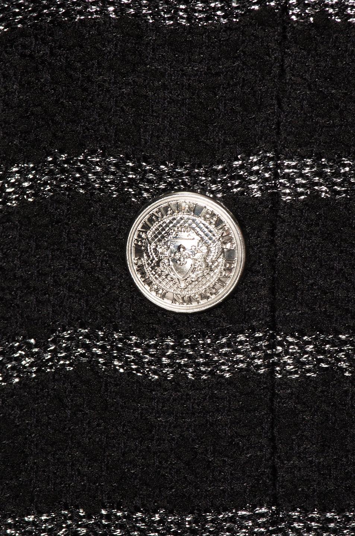 Image 5 of BALMAIN Tweed Stripe Blazer in Black & Silver