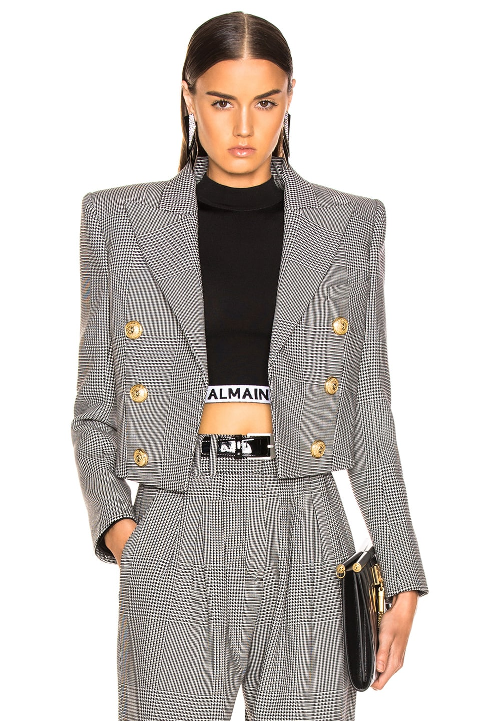 Image 1 of BALMAIN Double Breasted Cropped Blazer in Black & White