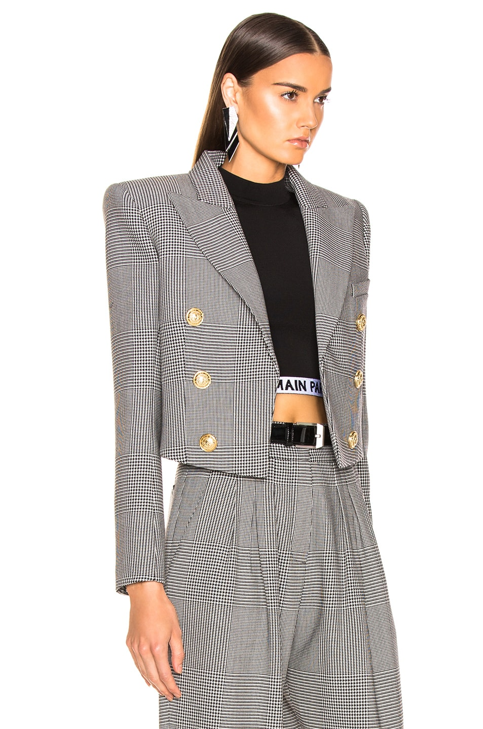 Image 2 of BALMAIN Double Breasted Cropped Blazer in Black & White