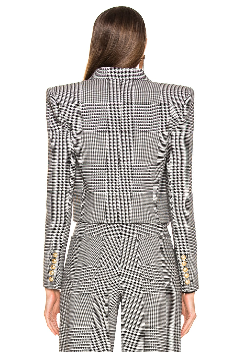 Image 3 of BALMAIN Double Breasted Cropped Blazer in Black & White