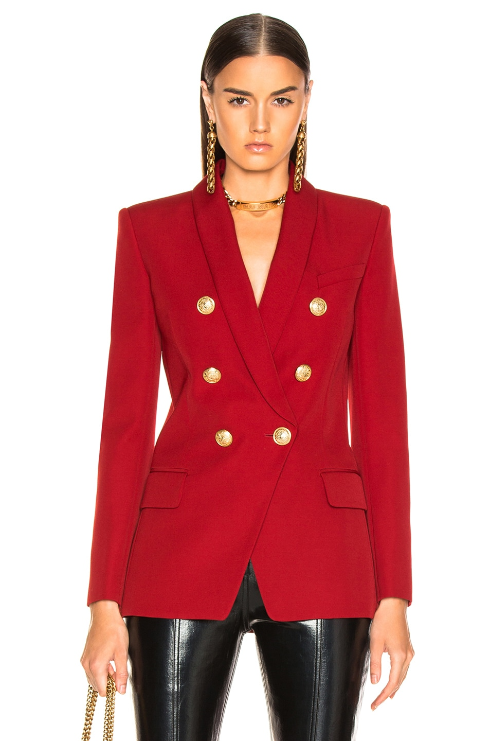 Image 1 of BALMAIN Oversized Double Breasted Blazer in Dark Red