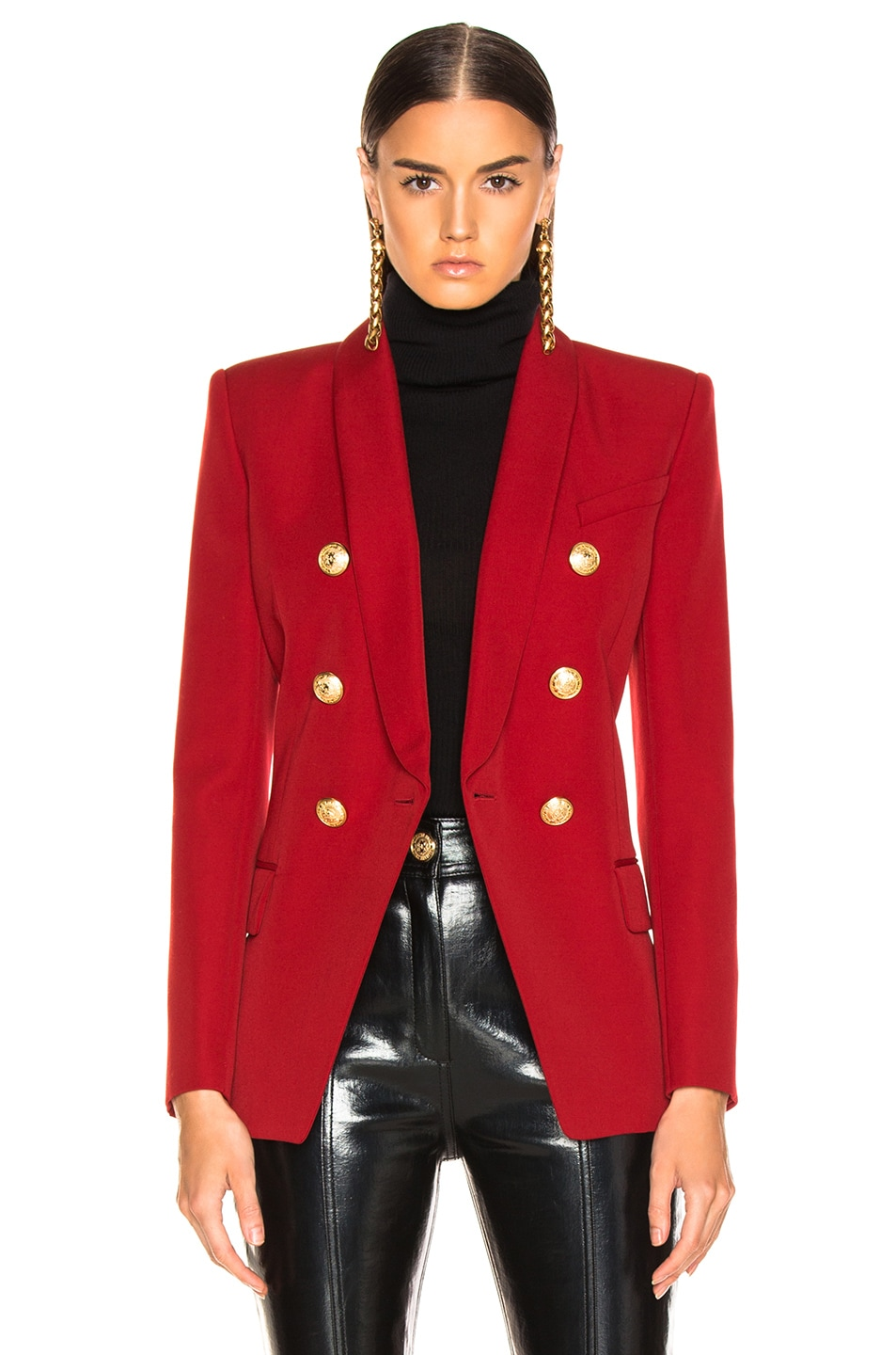 Image 2 of BALMAIN Oversized Double Breasted Blazer in Dark Red