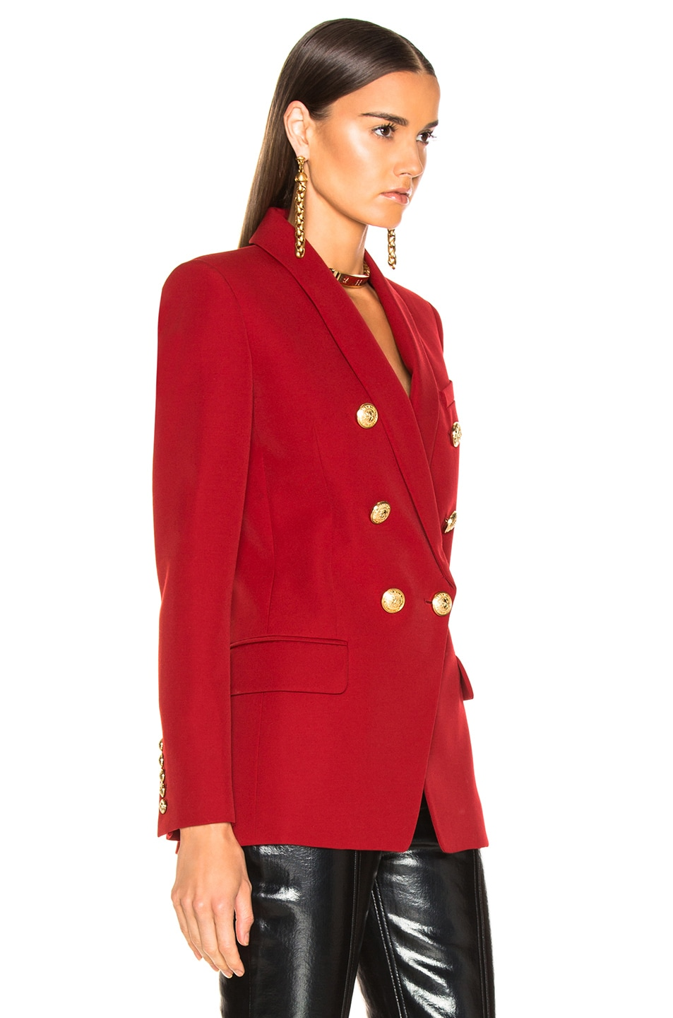Image 3 of BALMAIN Oversized Double Breasted Blazer in Dark Red