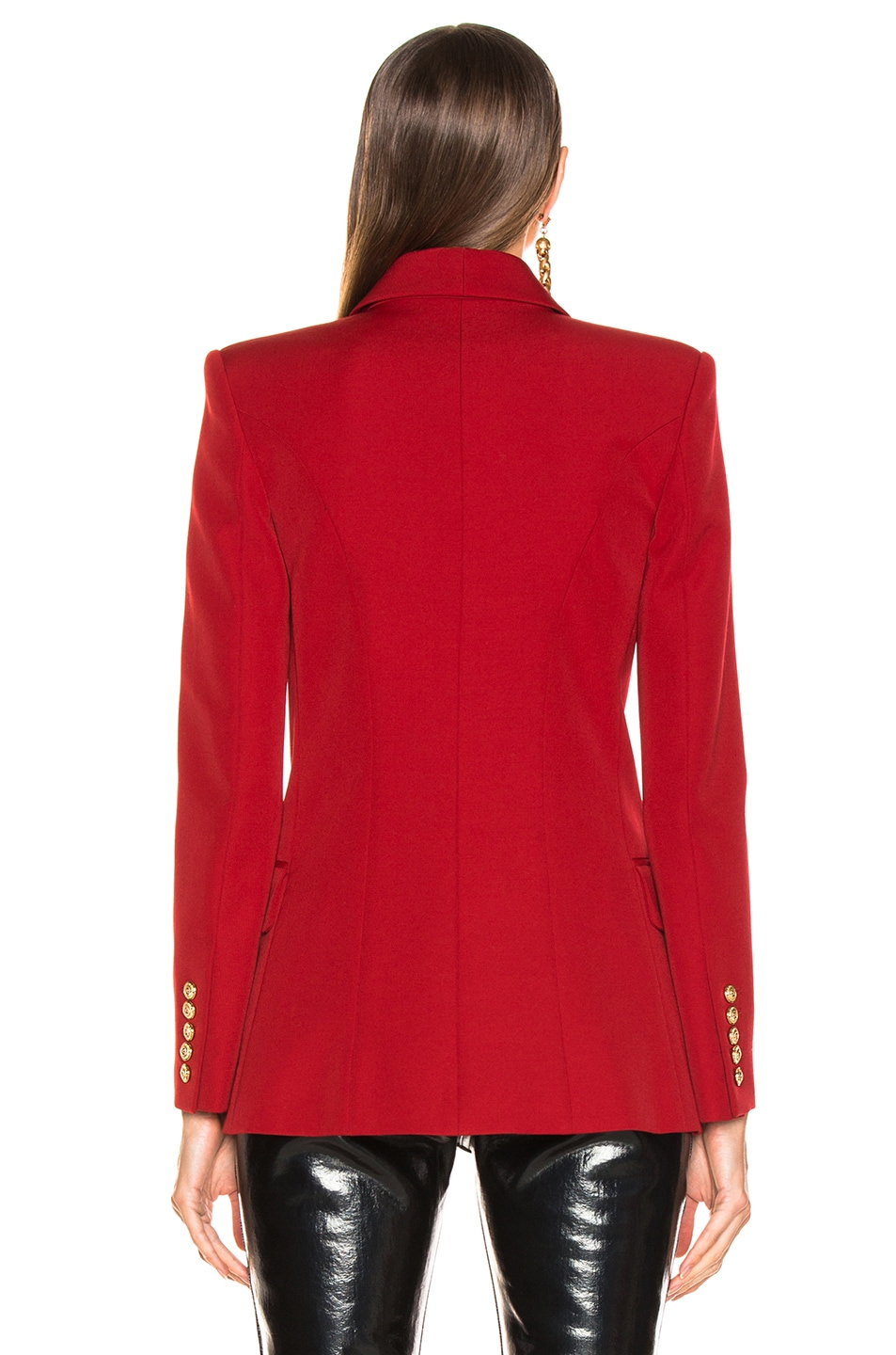 Image 4 of BALMAIN Oversized Double Breasted Blazer in Dark Red