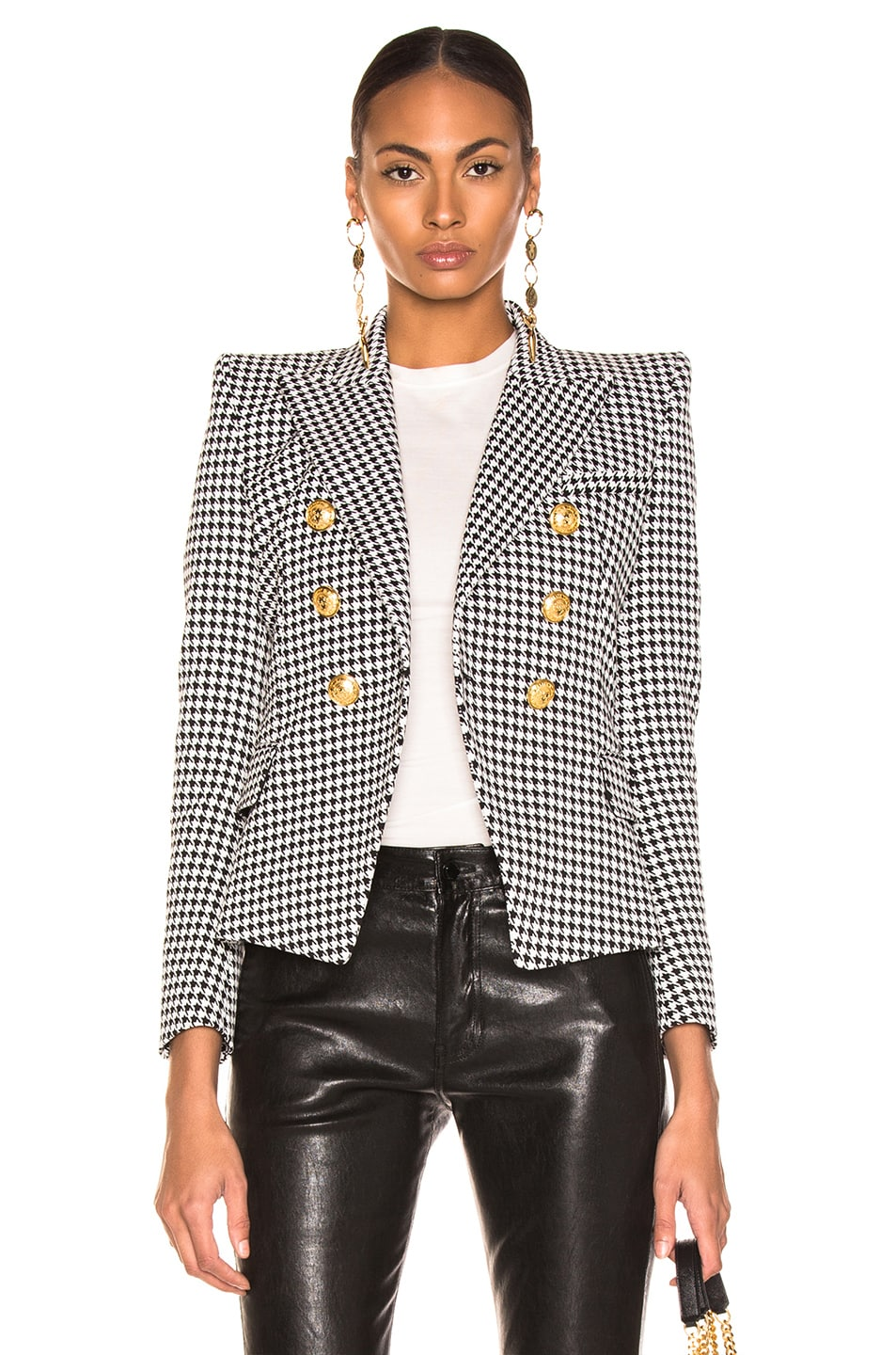Image 1 of BALMAIN Houndstooth Jacket in Noir & Blanc