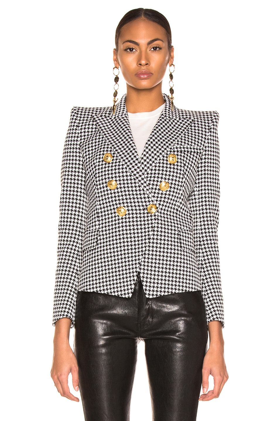 Image 2 of BALMAIN Houndstooth Jacket in Noir & Blanc