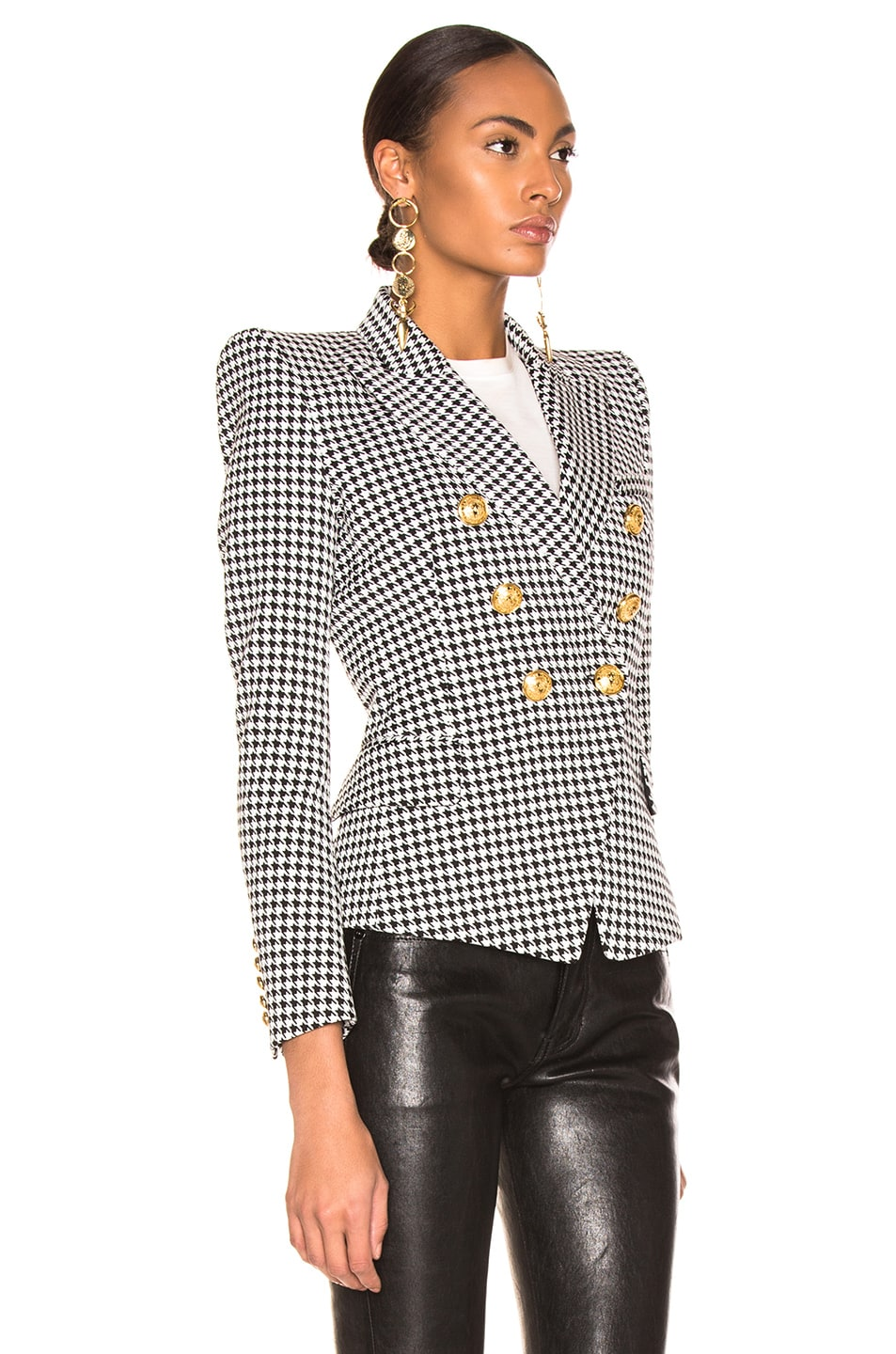 Image 3 of BALMAIN Houndstooth Jacket in Noir & Blanc