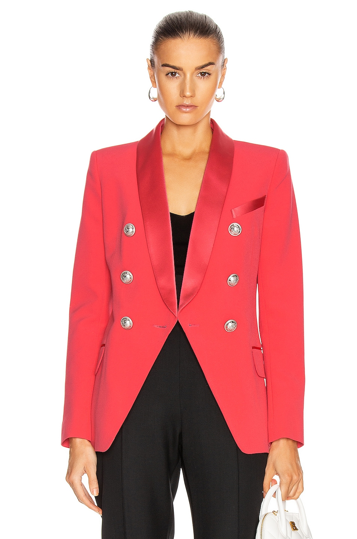 Image 1 of BALMAIN Oversized Satin Lapel Blazer Jacket in Dark Rose