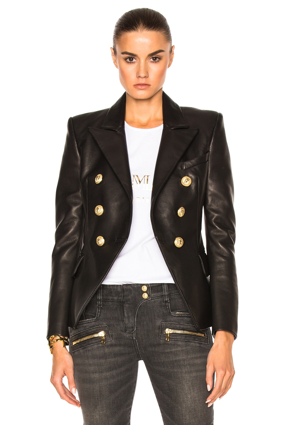 9e13a907 Image 1 of BALMAIN Double Breasted Leather Blazer in Black