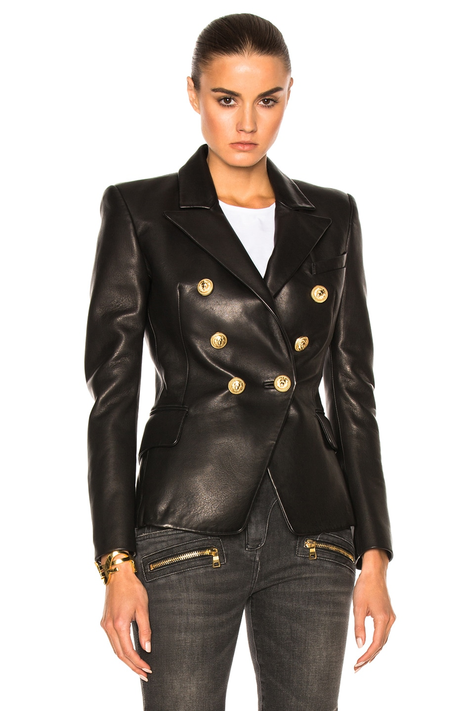 Image 2 of BALMAIN Double Breasted Leather Blazer in Black