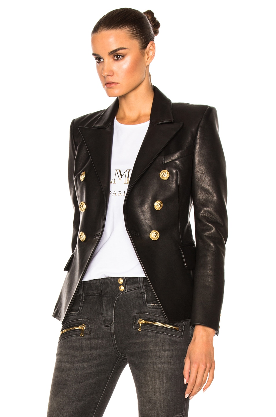 Image 3 of BALMAIN Double Breasted Leather Blazer in Black
