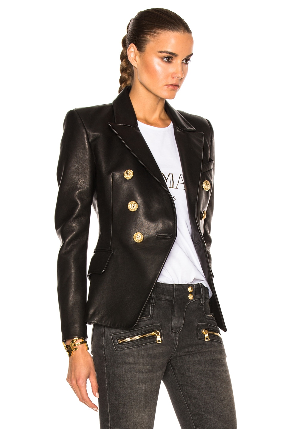 Image 4 of BALMAIN Double Breasted Leather Blazer in Black