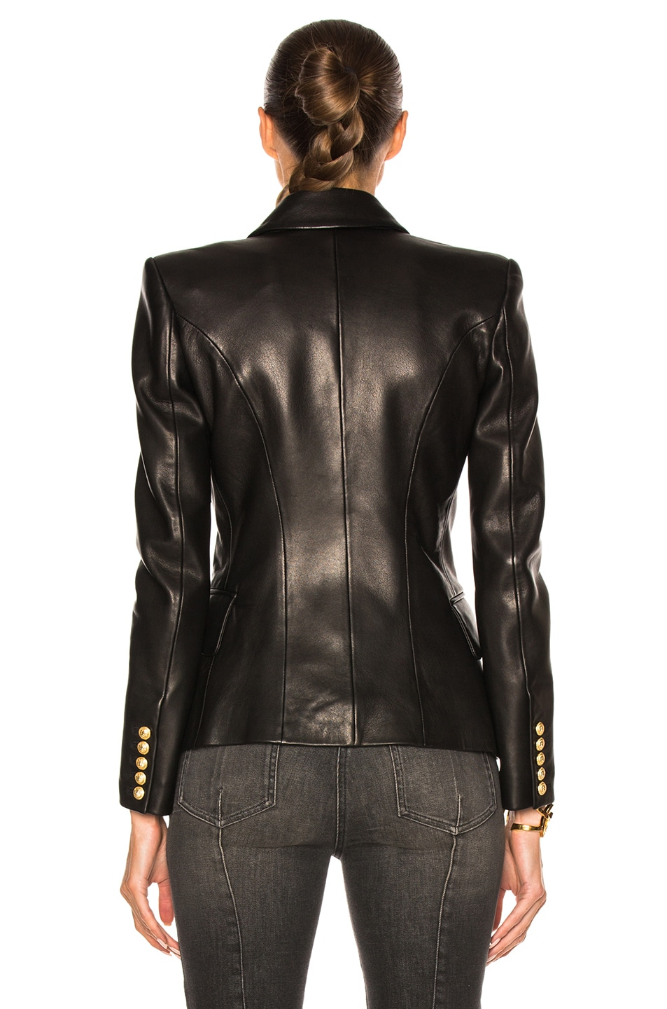 Image 5 of BALMAIN Double Breasted Leather Blazer in Black