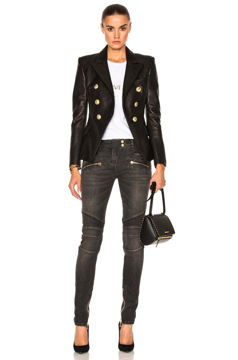 Image 6 of BALMAIN Double Breasted Leather Blazer in Black