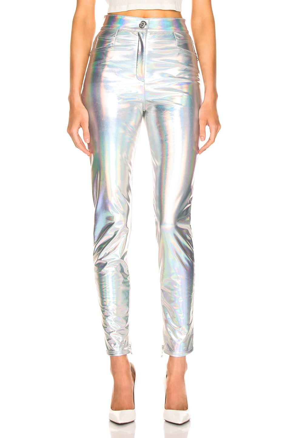 Image 1 of BALMAIN High Waisted Skinny Pants in Holographic Silver