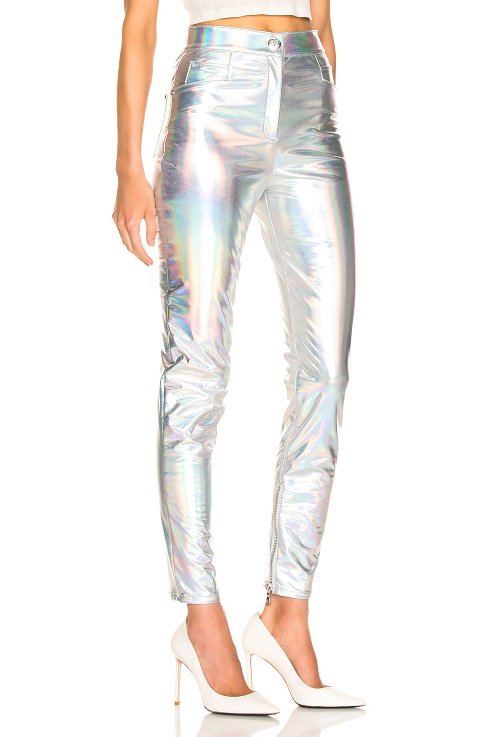 Image 2 of BALMAIN High Waisted Skinny Pants in Holographic Silver