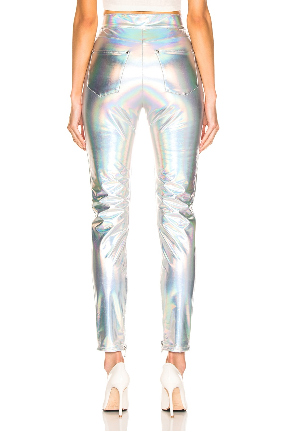 Image 3 of BALMAIN High Waisted Skinny Pants in Holographic Silver