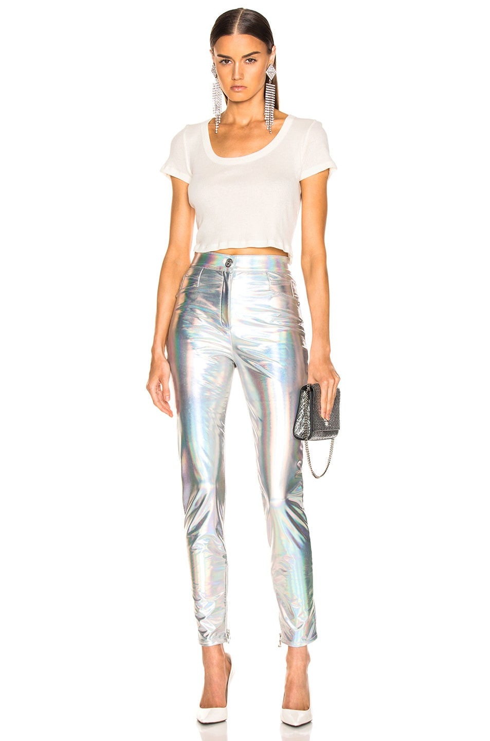 Image 4 of BALMAIN High Waisted Skinny Pants in Holographic Silver