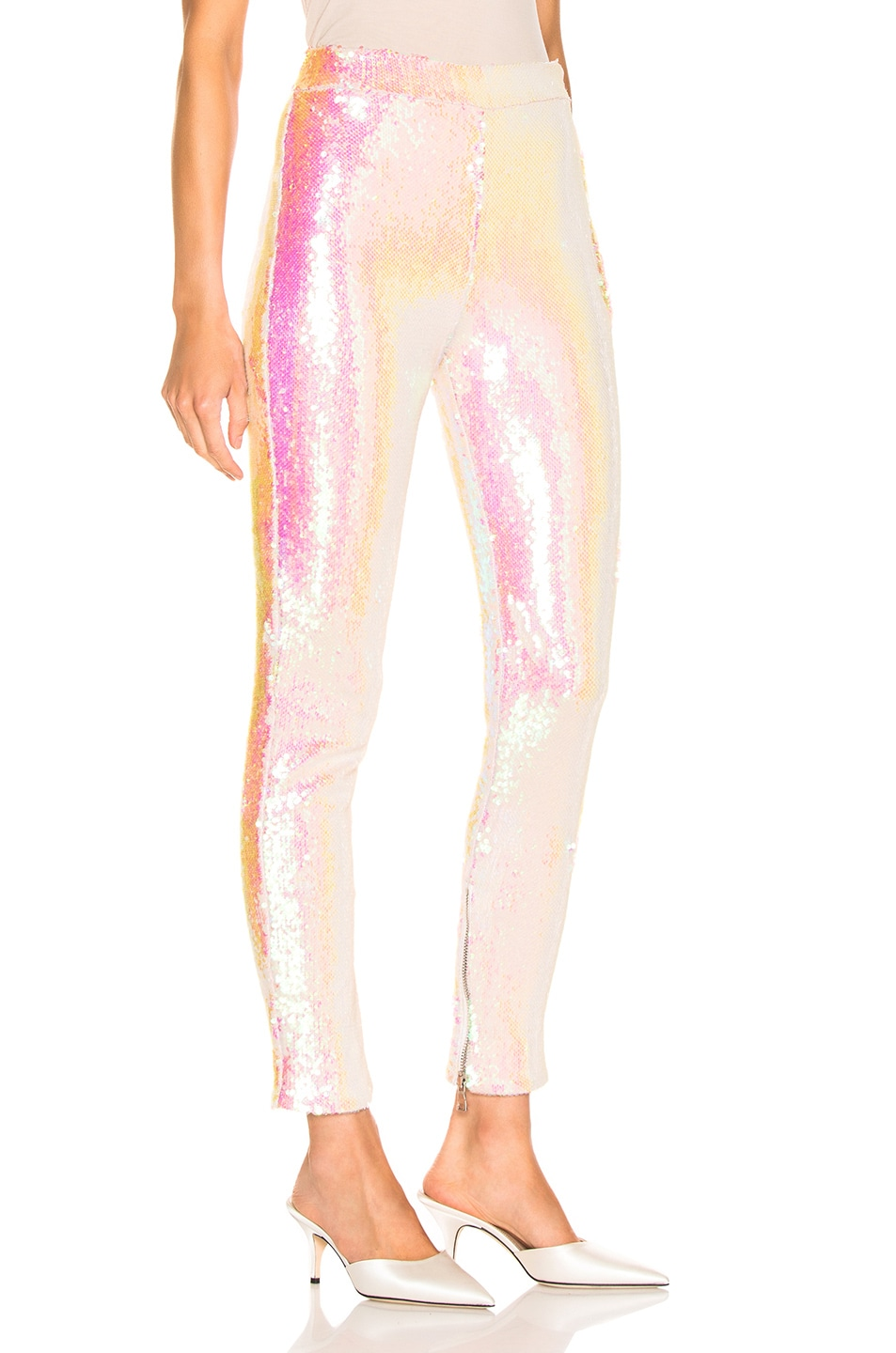 de3c0900685170 Image 2 of BALMAIN Sequin Leggings in Mother of Pearl
