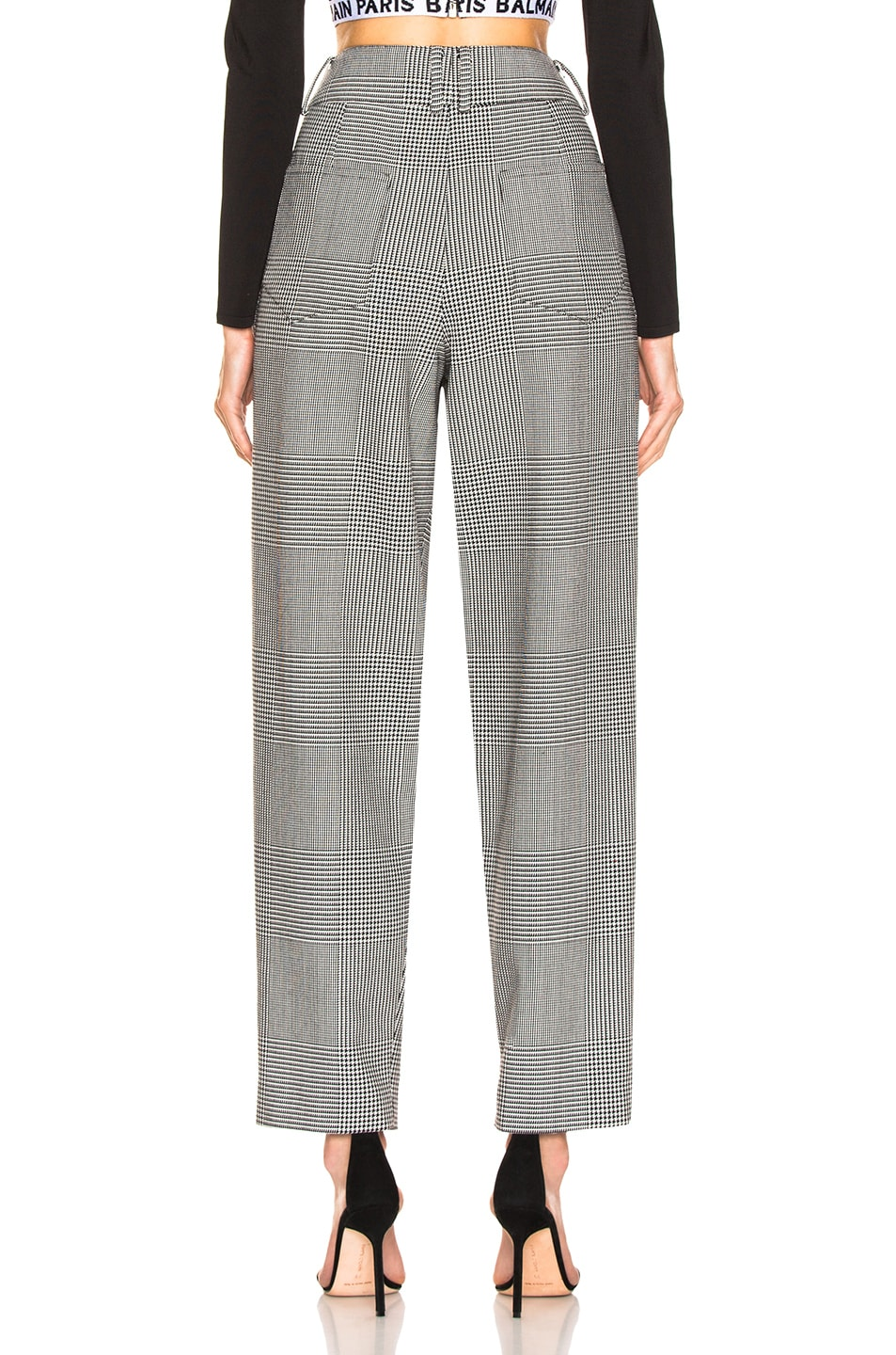 Image 3 of BALMAIN High Waisted Check Trousers in Black & White