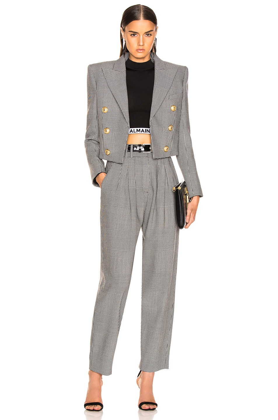 Image 4 of BALMAIN High Waisted Check Trousers in Black & White