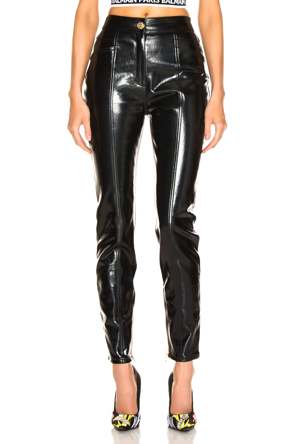 Image 1 of BALMAIN Patent Leather Pants in Black