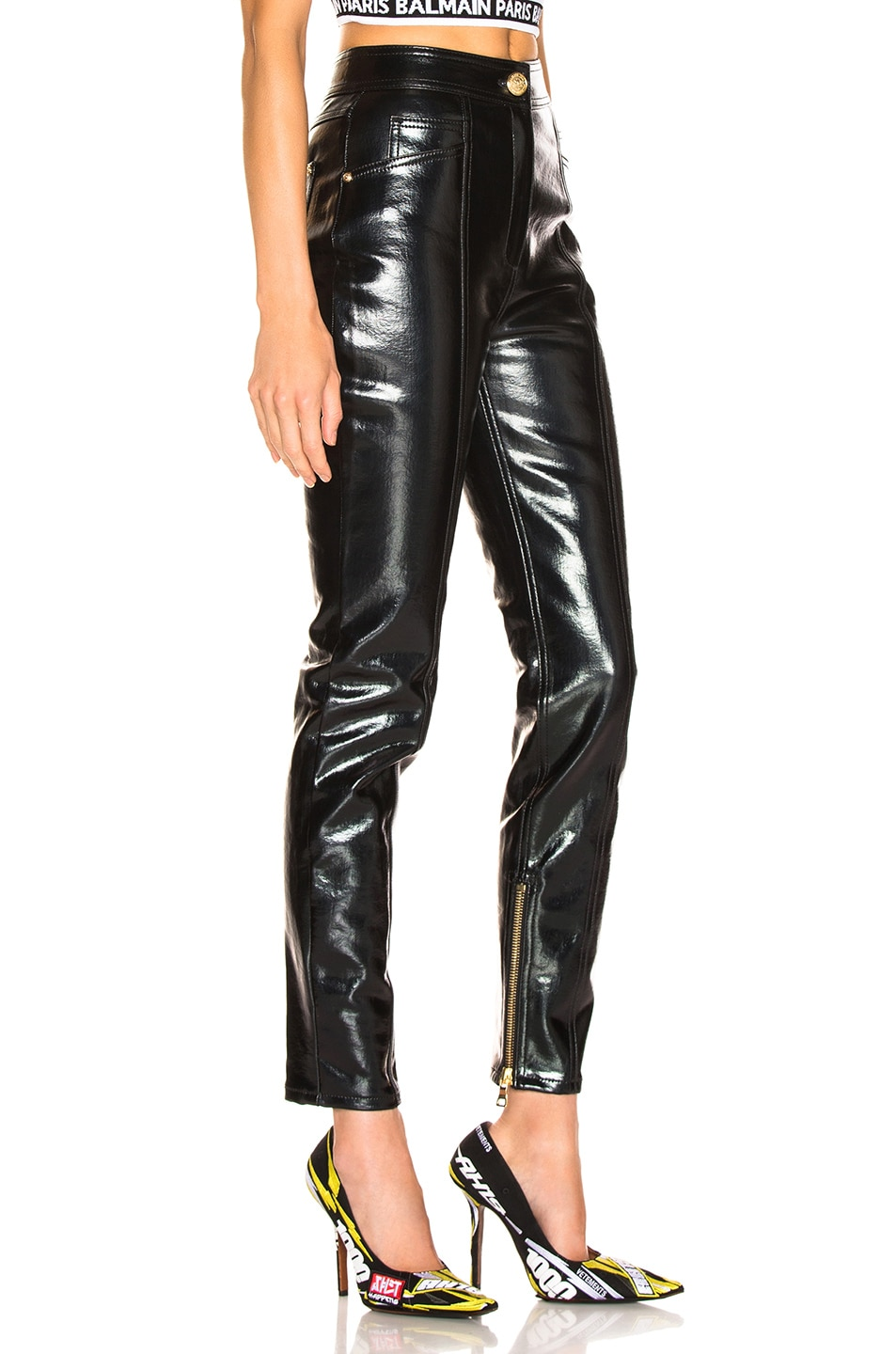 Image 2 of BALMAIN Patent Leather Pants in Black