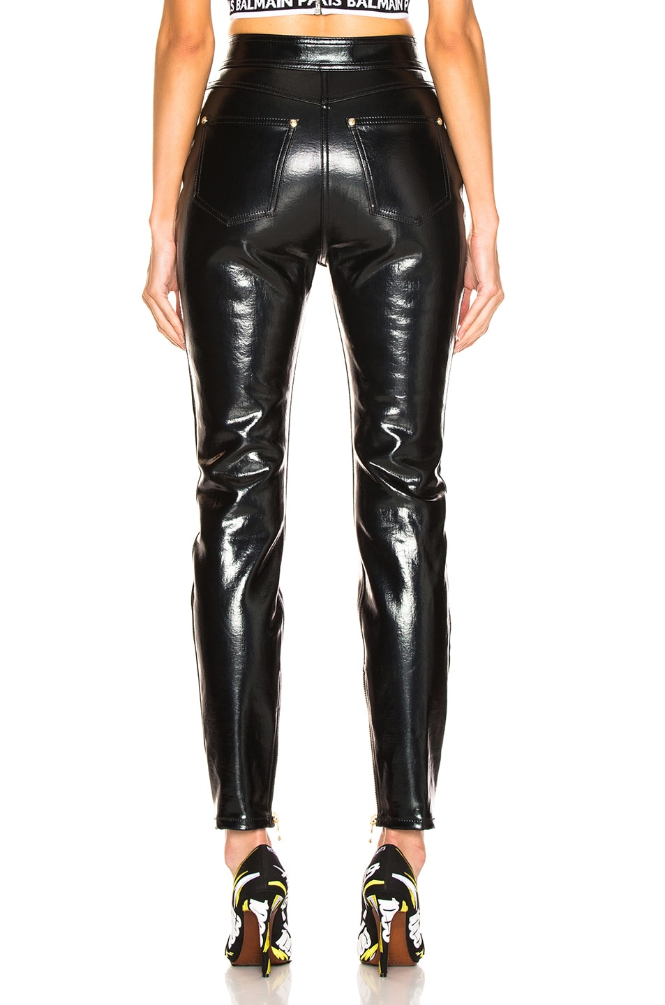 Image 3 of BALMAIN Patent Leather Pants in Black