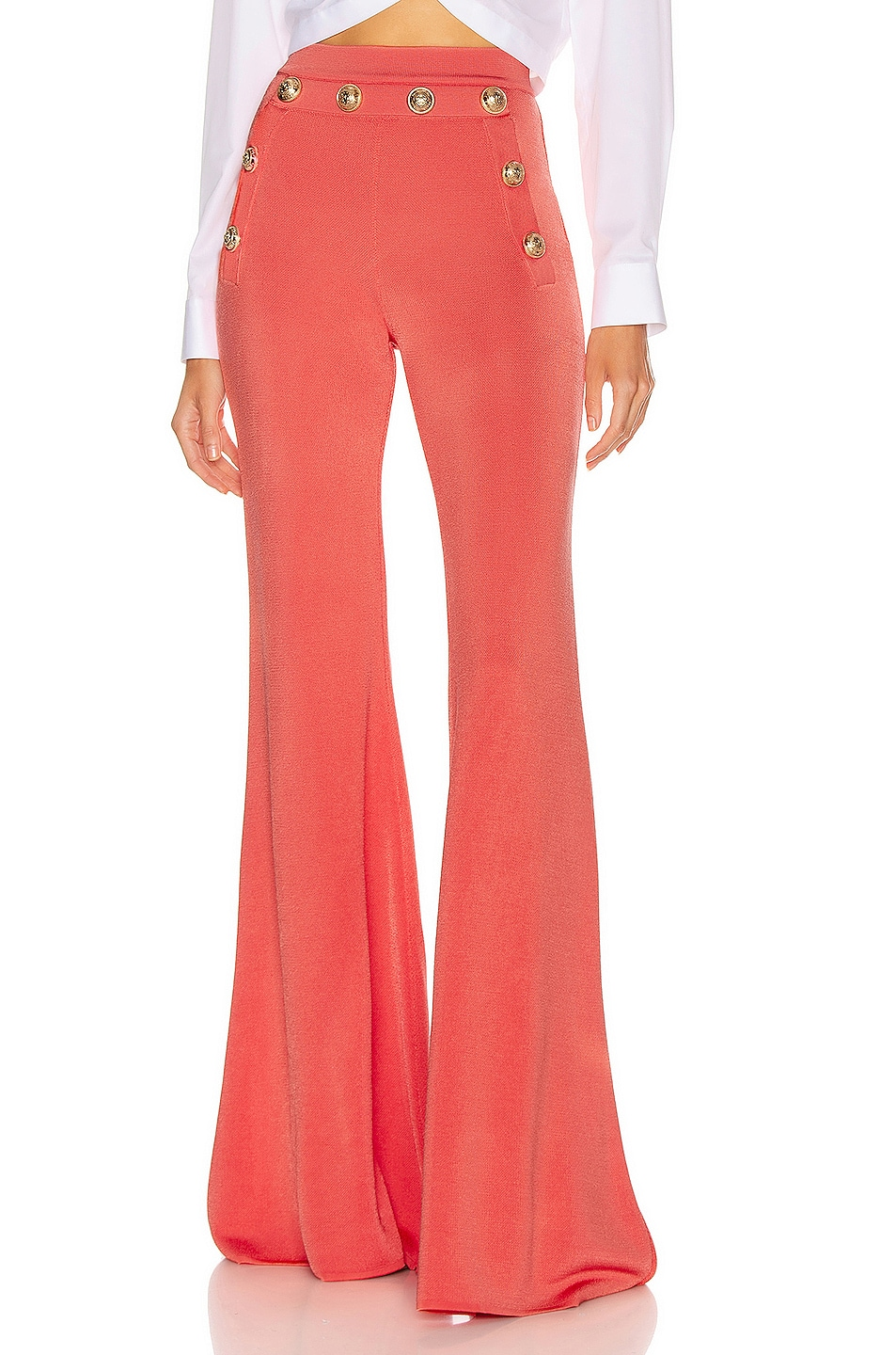 Image 1 of BALMAIN Button Embellished Flare Pant in Rose