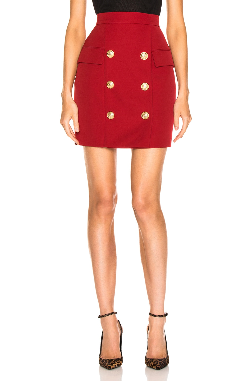 Image 1 of BALMAIN Button Front Mini Skirt in Dark Red