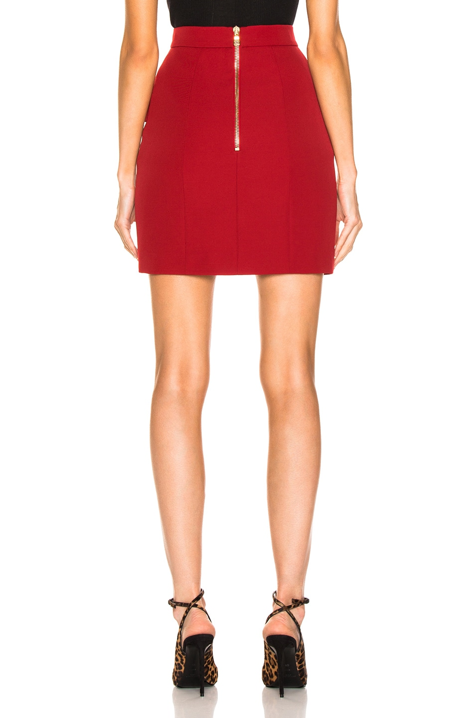 Image 3 of BALMAIN Button Front Mini Skirt in Dark Red