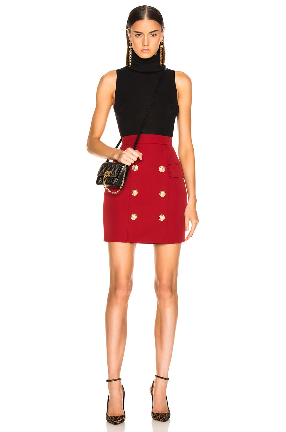 8692887b8 Image 4 of BALMAIN Button Front Mini Skirt in Dark Red
