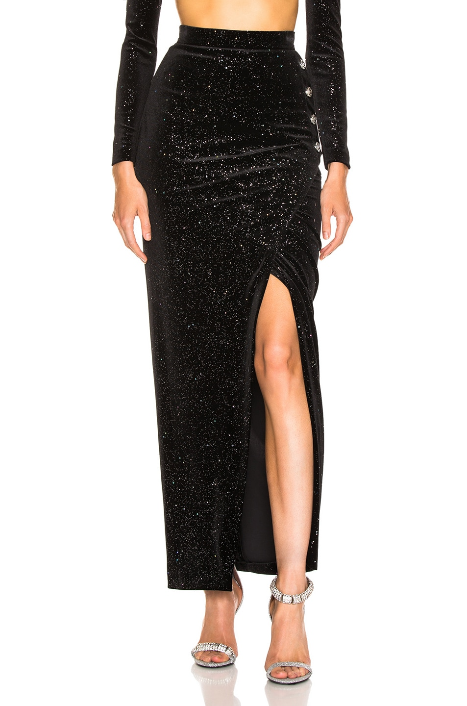 Image 1 of BALMAIN Star Speckled Midi Skirt in Black & Silver